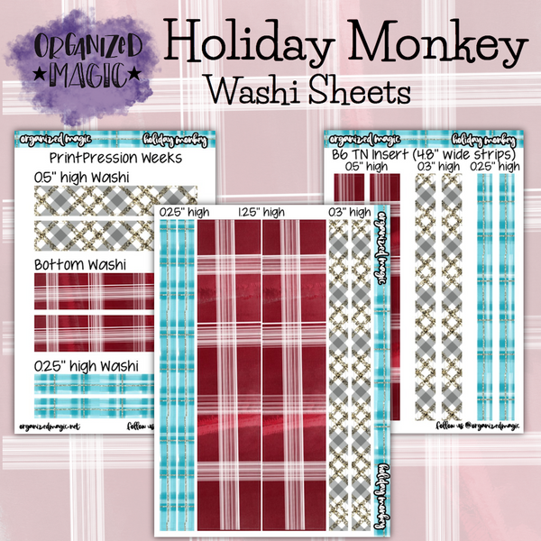 Holiday Monkey washi sheet planner stickers