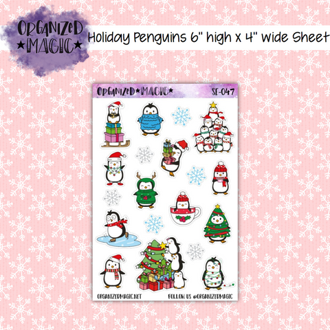 Holiday Penguins planner stickers