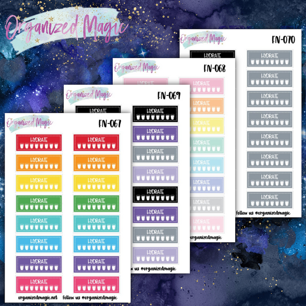 water tracker planner stickers
