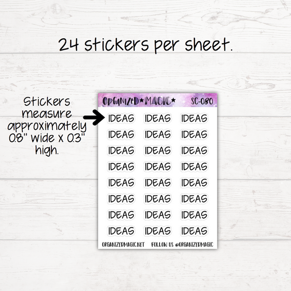 Ideas Planner Stickers - Headers