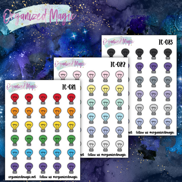 light bulb planner stickers