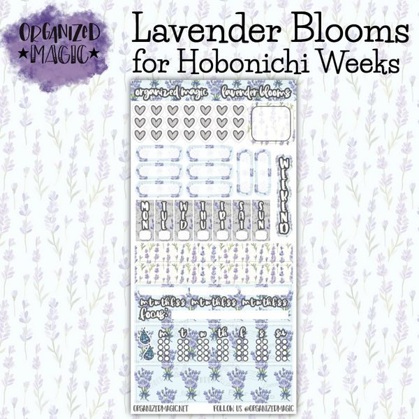 Lavender Blooms Hobonichi Weeks planner sticker kit