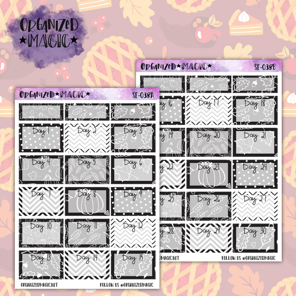 November Thankful 30 black and white challenge planner stickers