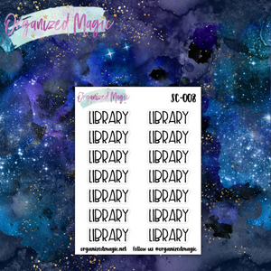 library script planner stickers