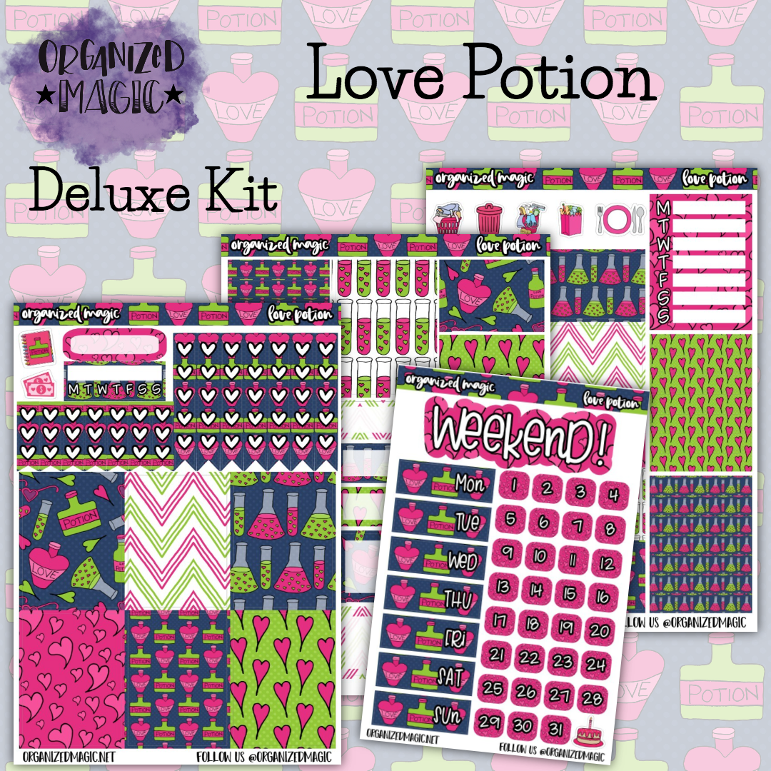 Love Potion Deluxe weekly planner sticker kit
