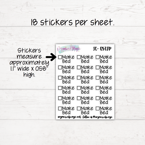 Make Bed Script Planner Stickers