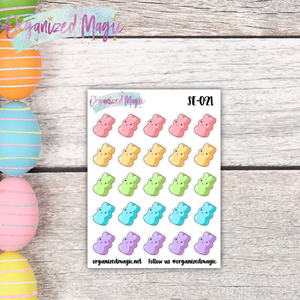 marshmallow bunny planner stickers