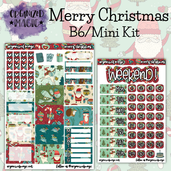 Merry Christmas B6 Mini planner stickers kit