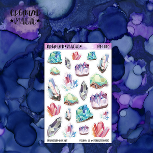 Watercolor mineral crystal planner stickers
