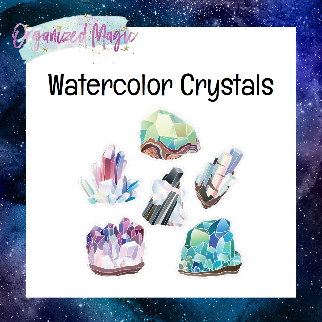 watercolor crystals die cut stickers