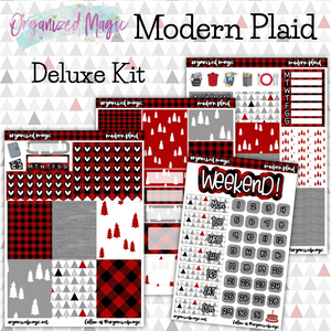Modern Plaid Deluxe weekly planner sticker kit