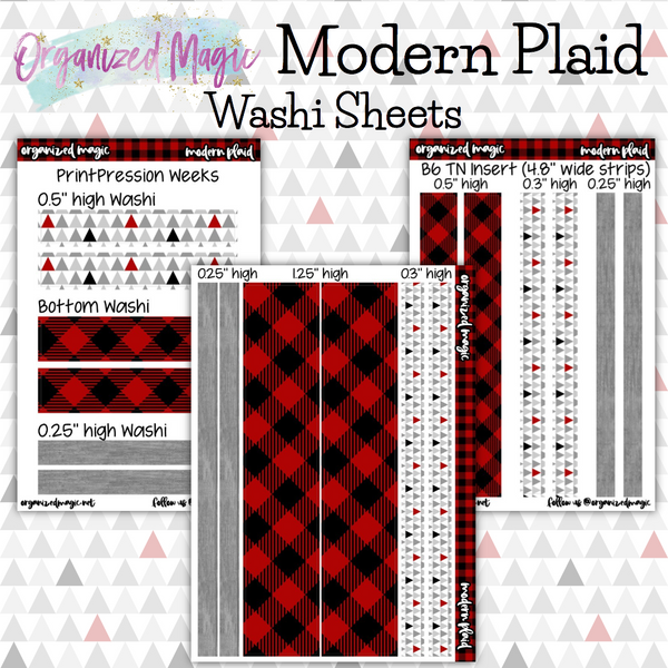 Modern Plaid washi sheet planner stickers
