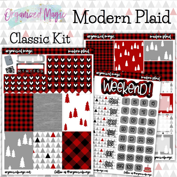 Modern Plaid Classic weekly planner sticker kit