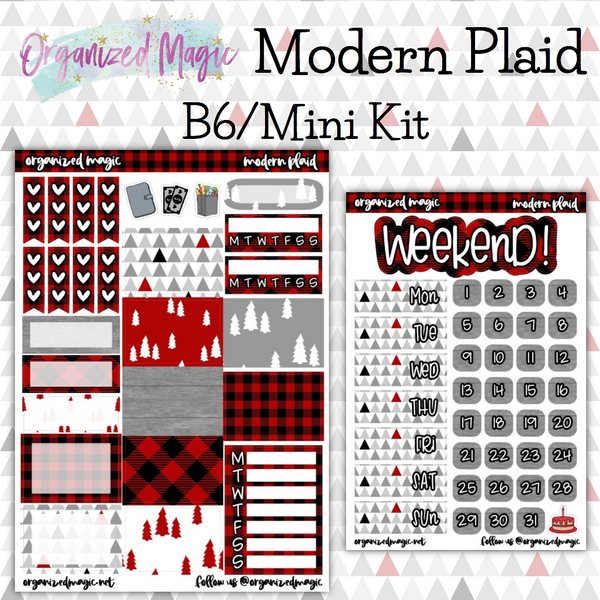 Modern Plaid B6 Mini kit weekly planner sticker kit