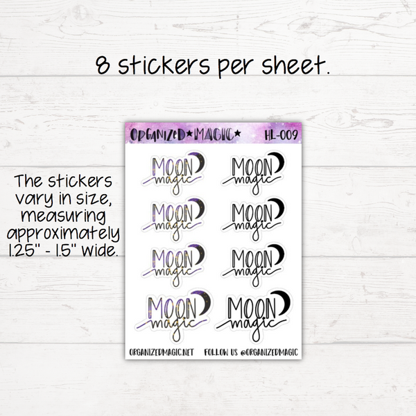 Moon Magic Hand Lettered Planner Stickers