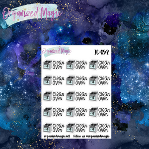 clean oven planner stickers