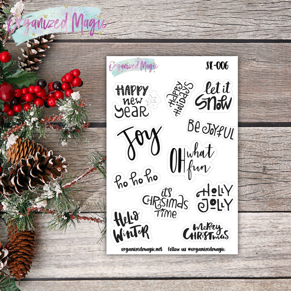 holiday phrase planner stickers