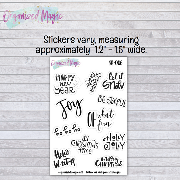 Holiday Phrases Planner Stickers