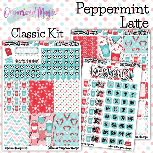 Peppermint Latte Classic weekly planner sticker kit