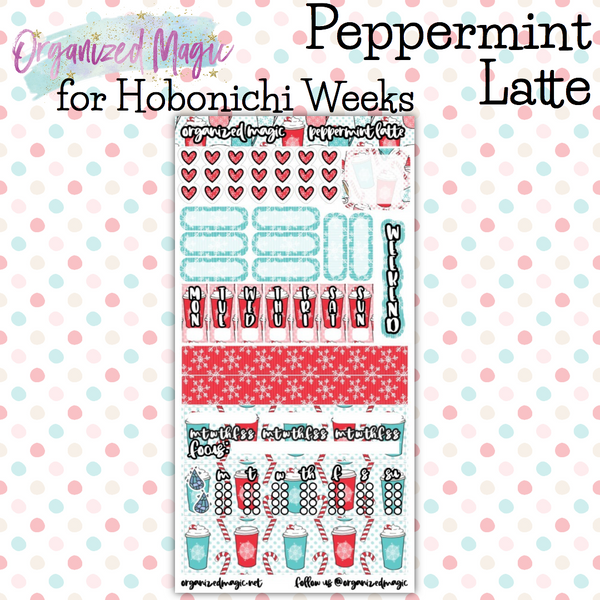 Peppermint Latte Hobonichi Weeks planner sticker kit