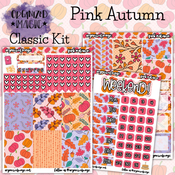 Pink Autumn Classic weekly planner sticker kit