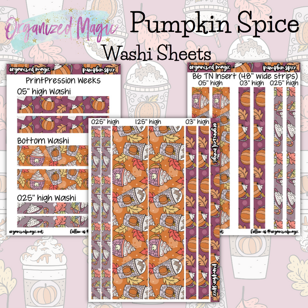 Pumpkin Spice Washi Sheet planner stickers