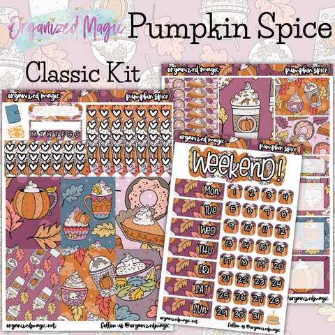 Pumpkin Spice Classic weekly planner sticker kit