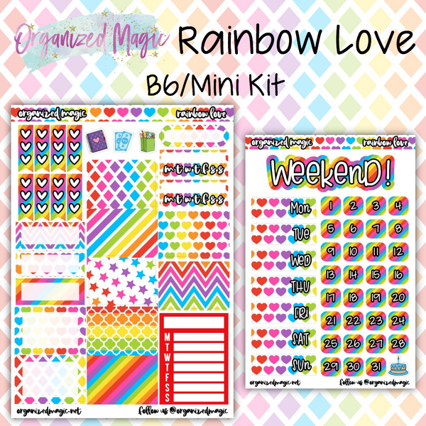 Rainbow Love B6/Mini Kit planner stickers