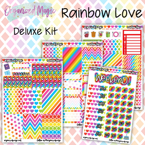 Rainbow Love Deluxe weekly planner sticker kit