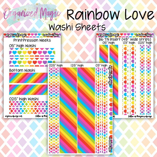 Rainbow Love washi strips planner stickers