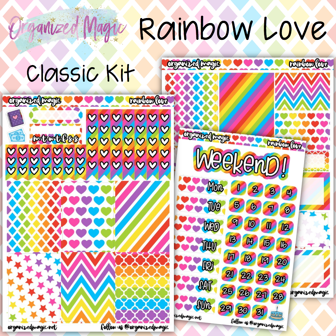 Rainbow Love Classic Weekly planner sticker kit