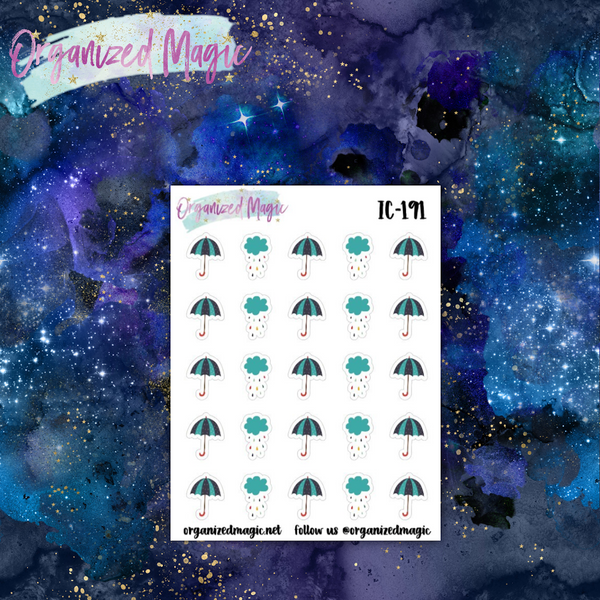 rainy day planner stickers