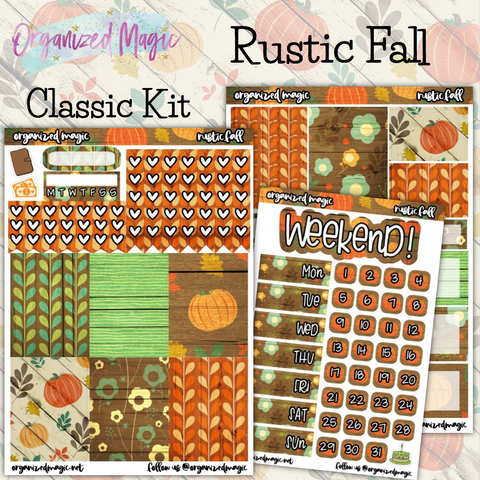 Rustic Fall Classic weekly planner sticker kit