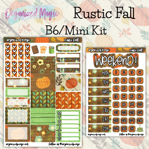 Rustic Fall B6 Mini Kit planner stickers