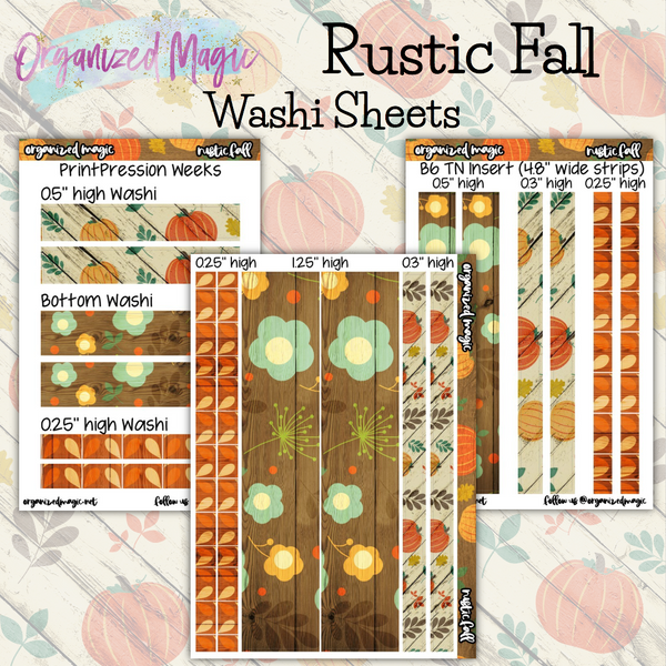 Rustic Fall Washi sheets planner stickers
