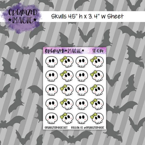 Cute Skulls planner stickers