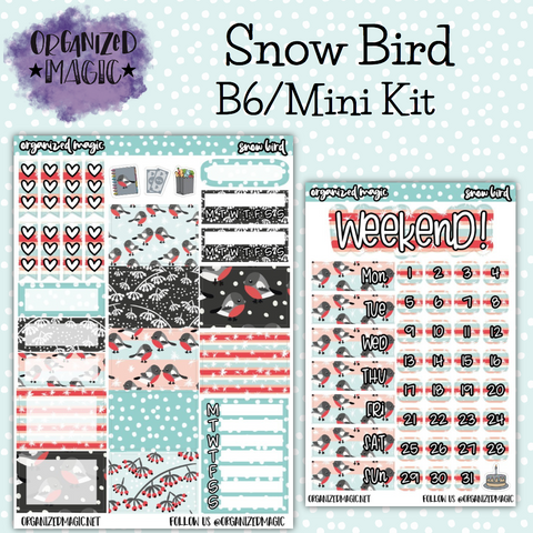 Snow Bird B6 Mini planner sticker kit