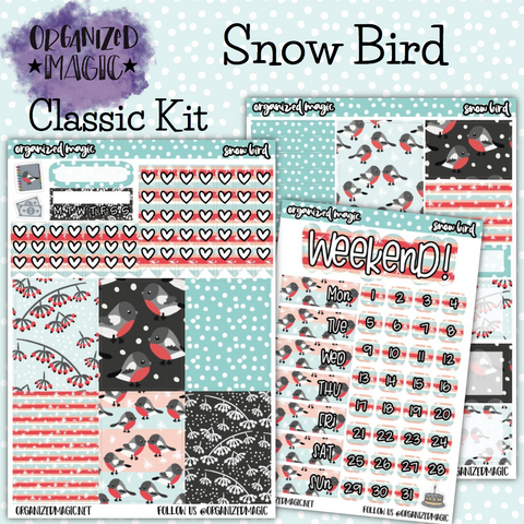 Snow Bird Classic weekly planner sticker kit