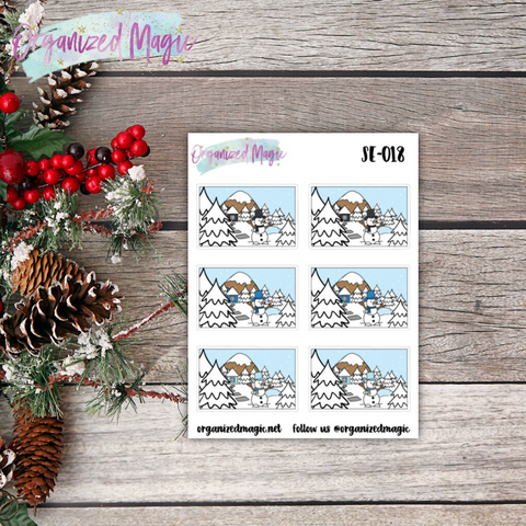 wintery day flatlay planner stickers