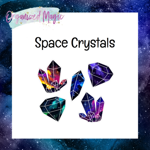 space crystal die cut stickers