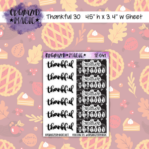 Thankful 30 black and white gratitude trackers and thankful header planner stickers