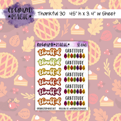 Thankful 30 Autumn Galaxy trackers and headers planner stickers