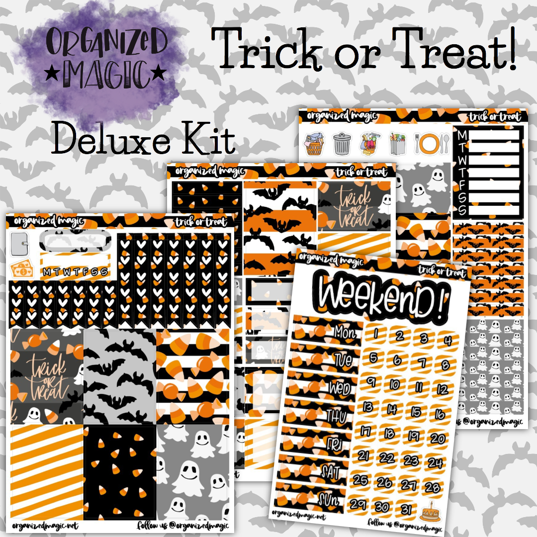 Trick or Treat Deluxe weekly planner sticker kit