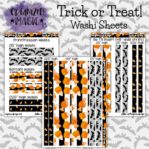 Trick or Treat washi sheets planner stickers