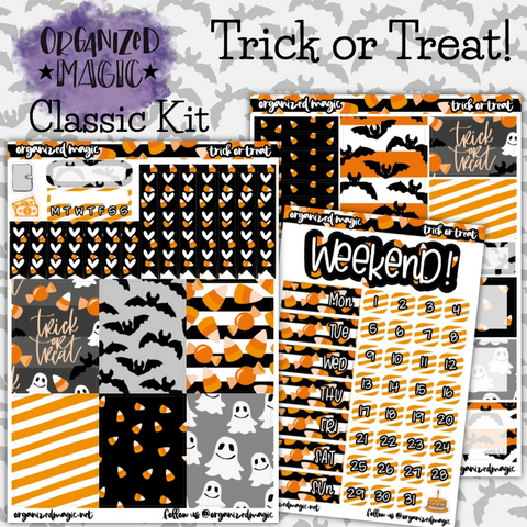 Trick or Treat Classic weekly planner sticker kit