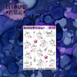 Moody Unicorn planner stickers