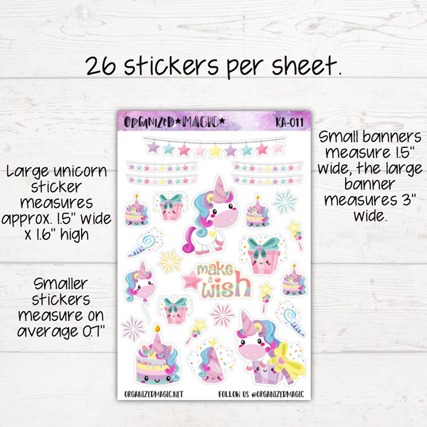 Unicorn Birthday Planner Stickers