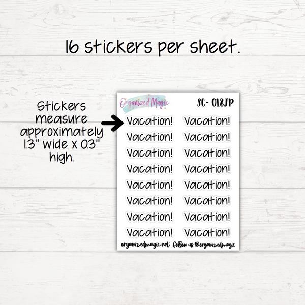 Vacation Planner Stickers