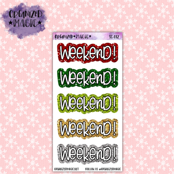 Christmas weekend banner glitter planner stickers