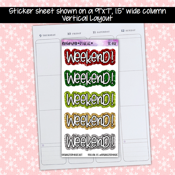 Weekend Banner Planner Stickers - Christmas